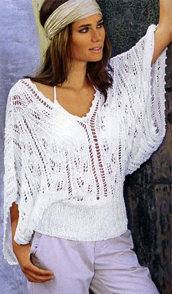 Лёгкая и модная ажурная женская кофточка для жаркого лета