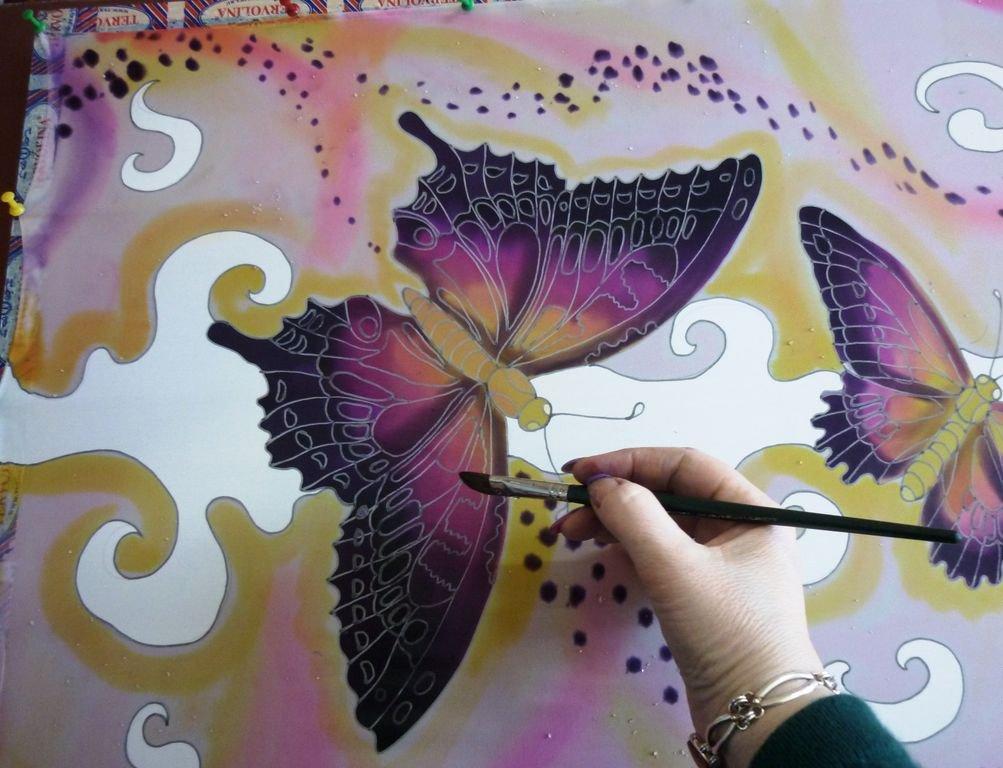 роспись по шелку - бабочки