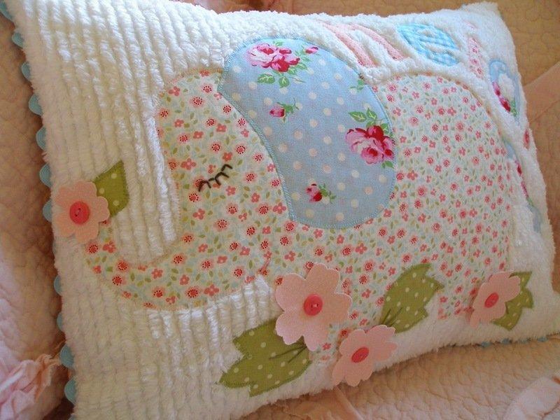 подушка в технике синель