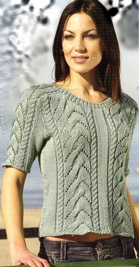Летний женский пуловер с различными косами