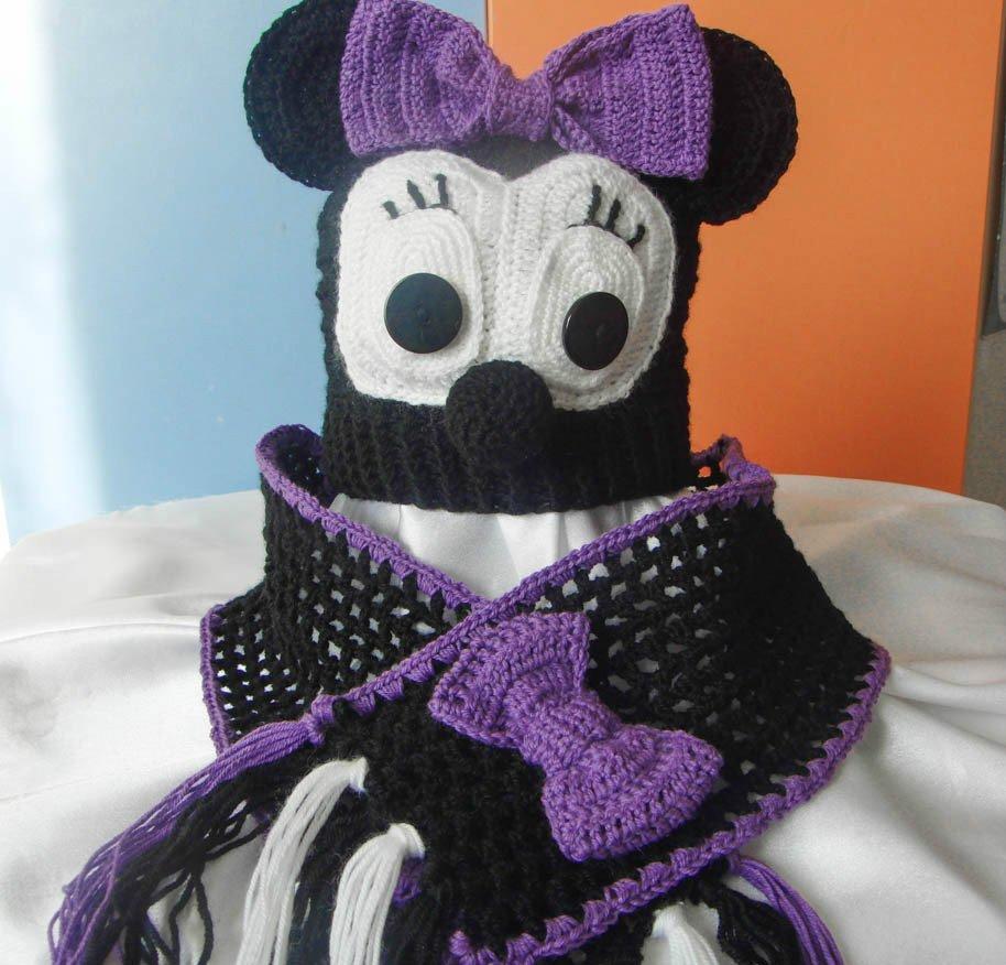 Оригинальная шапочка и шарфик с сиреневым бантиком Микки Маус