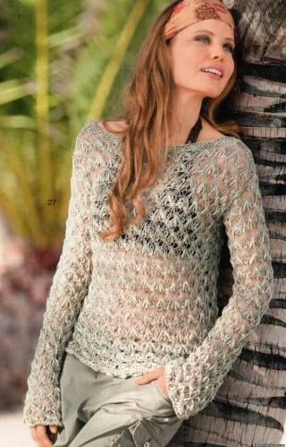 Лёгкий ажурный меланжевый женский свитерок