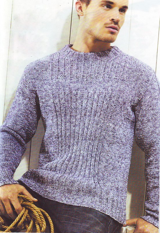 Мужской меланжевый пуловер с узором
