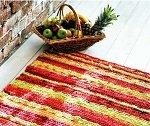 Вяжем крючком мексиканский коврик из полос ткани