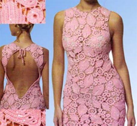 Ажурное платье.Вид спереди и сзади
