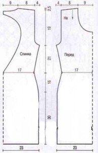 Схема для сшивания вязаных элементов платья