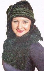 Вяжем крючком шляпку и шарф с пушистой отделкой