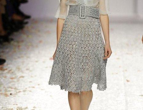 Дизайнерская юбка, связанная крючком - схема вязания