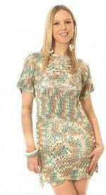 Вяжем крючком платье меланжевого цвета