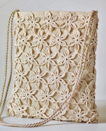 Дизайнерская сумка из мотивов-цветов крючком