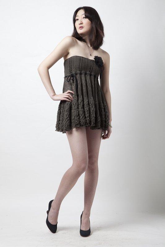 Юбка-платье до колен с узором-бабочкой крючком