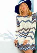 Вяжем крючком платье-тунику с узором зигзаг