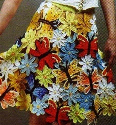 Весенняя юбка с цветами и бабочками