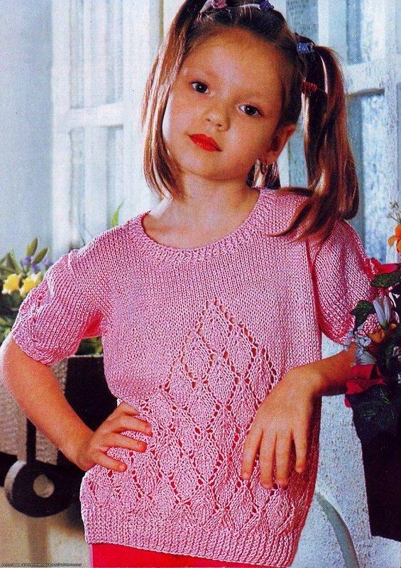 Детская футболка для маленькой модницы спицами