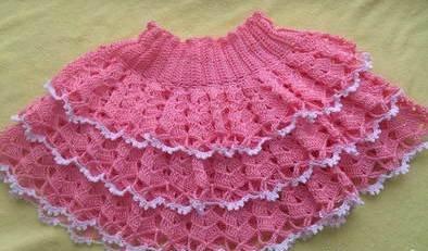 Ажурная вязаная юбка для девочки крючком