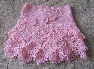 Детская юбочка с рюшами крючком Розовое облако