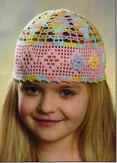 Летняя шапочка из меланжевого хлопка крючком для девочки 4 лет