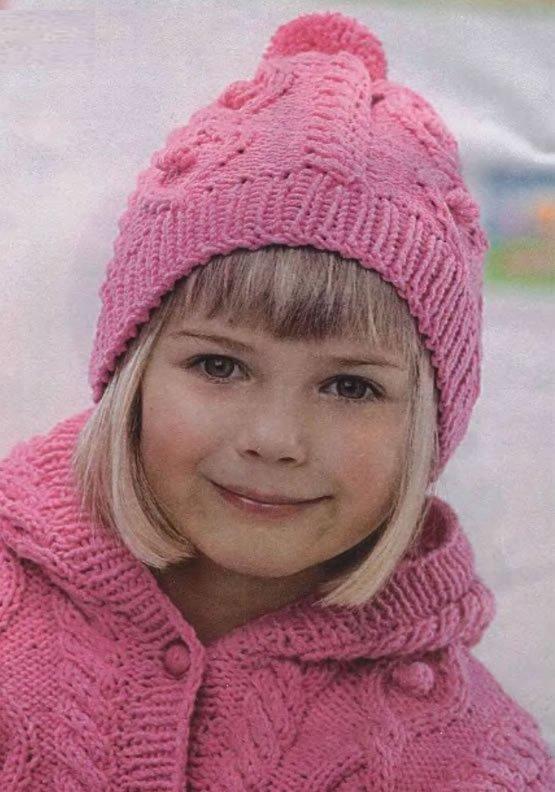 Розовая зимняя шапочка для девочки