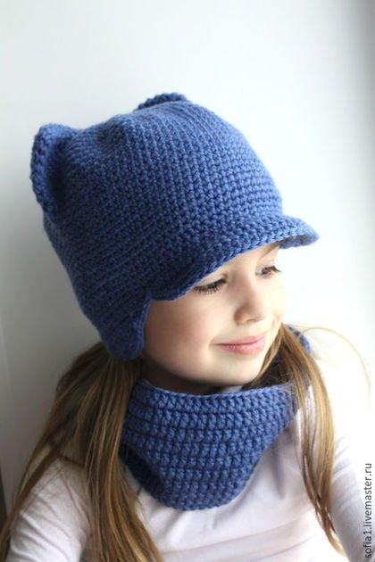 Зимняя шапочка крючком с ушками