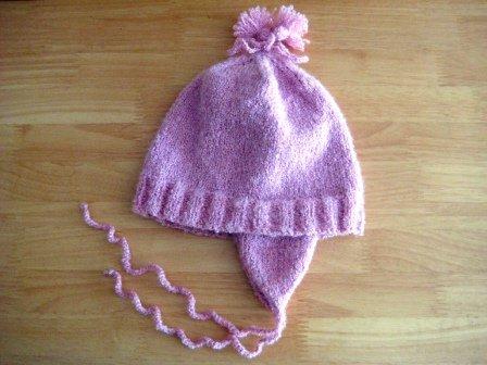 Тёплая шапочка для девочки с ушками