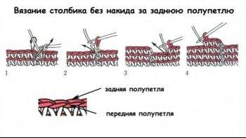Схема вязания столбика без накида за заднюю стенку