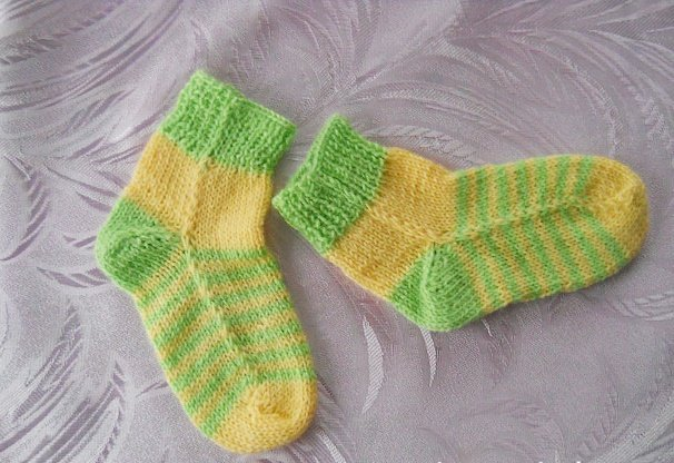 Носки на двух спицах для мальчика