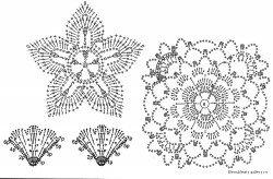Схема вязания цветка и листиков