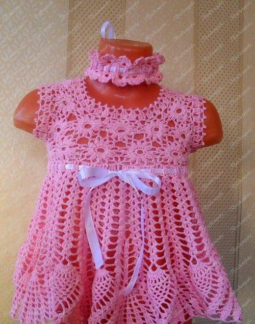 Схема вязания детского платья с кокеткой