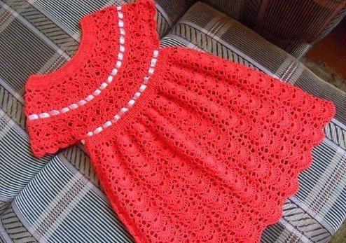 урок вязания крючком кокетки детского платья модадром