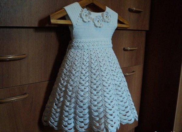 Кружевной подол для платья крючком
