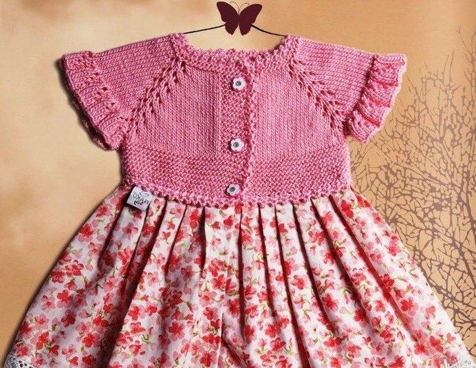 Комбинированное платье для девочки с кокеткой спицами