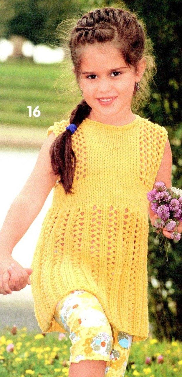 Жёлтый сарафанчик для девочки из хлопка спицами