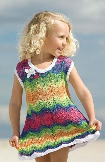 Летнее платье спицами для девочки 5 лет