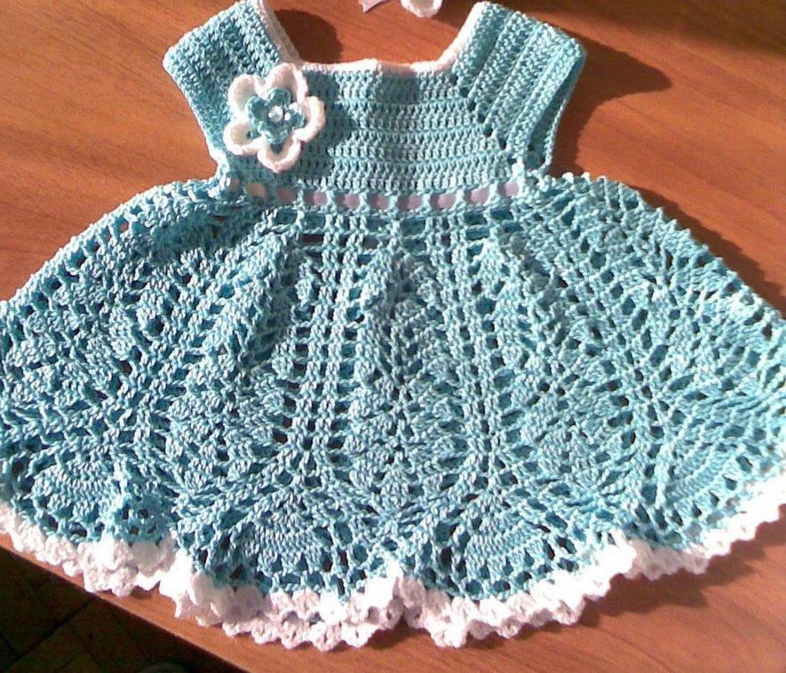 Голубое платье для новорожденной девочки крючком