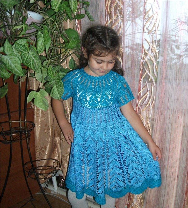 Кружевное платье для девочки 6 лет крючком