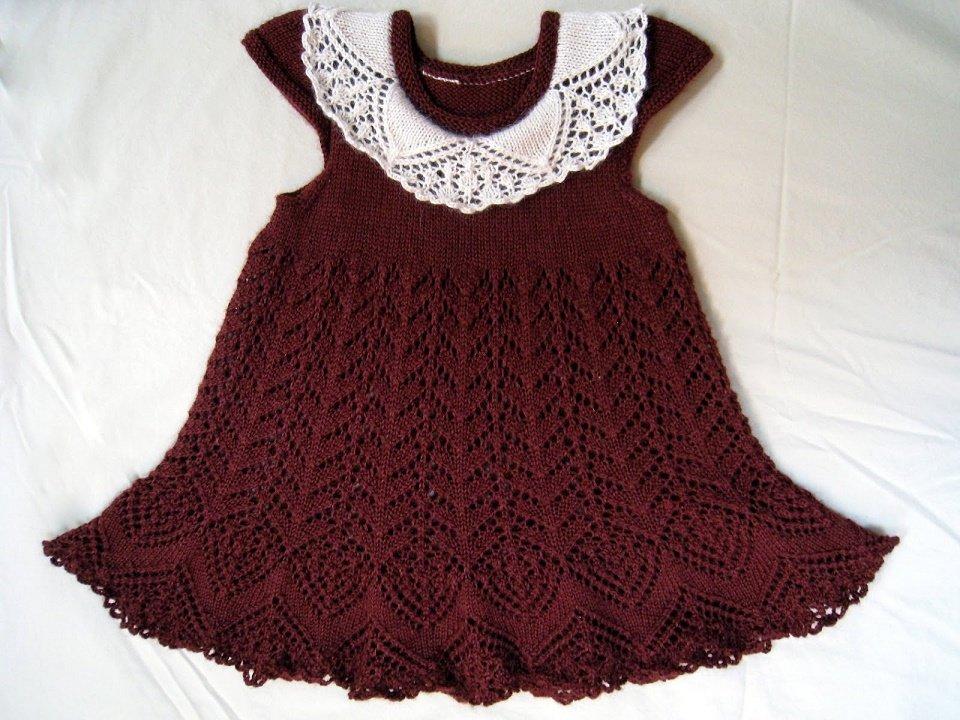 Ажурное платье спицами для девочки 3 года