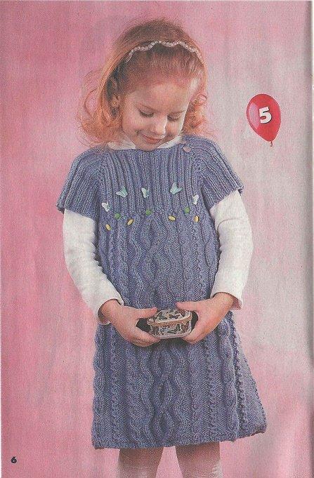 платье спицами узором из кос для девочки 5 лет