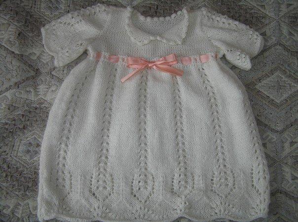 Платье для крещения спицами