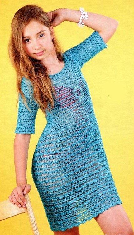 Бирюзовое пляжное платье для девочки крючком