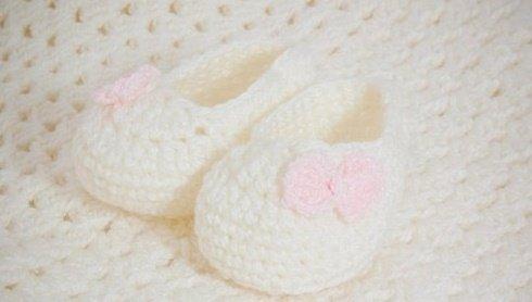 Пинетки-туфельки для новорожденной девочки