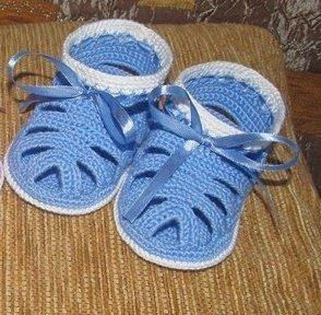 Летние голубые пинетки для мальчика