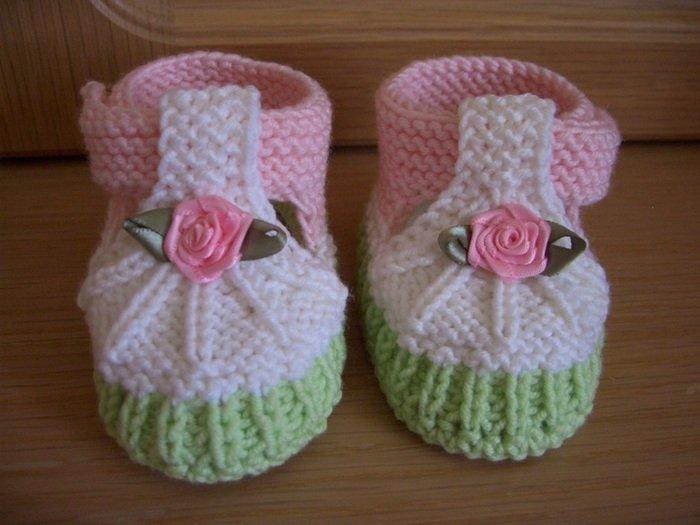 Пинетки розочки для новорожденной девочки