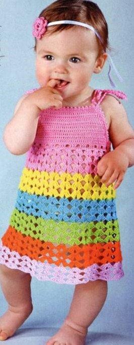 Ажурный сарафан с разноцветными полосками