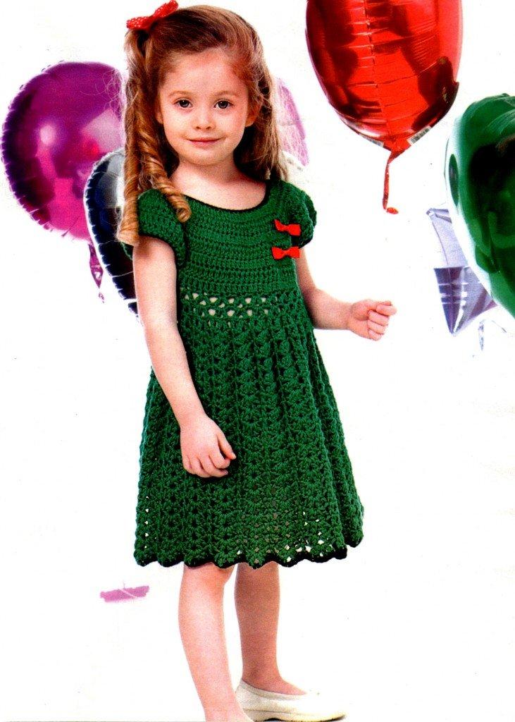 Зелёный ажурный сарафан крючком
