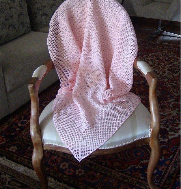 Нежно-розовый плед для выписки