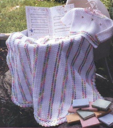 Плед для девочки с меланжевыми полосами - описание, схемы фото