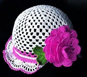 Панамка для девочки с розой
