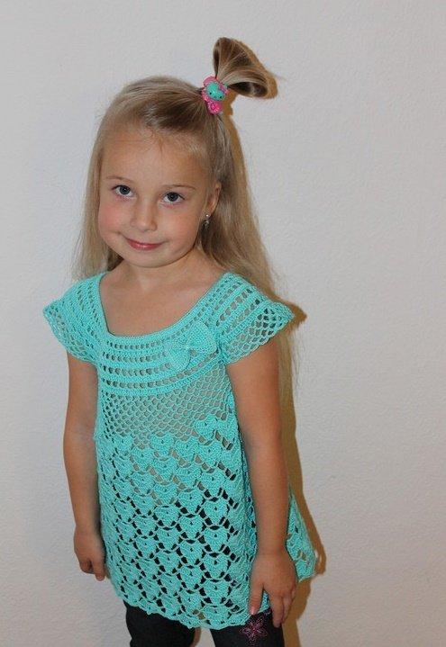 Ажурная туника для девочки 5 лет