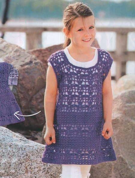 Изысканная летняя туника для девочки крючком