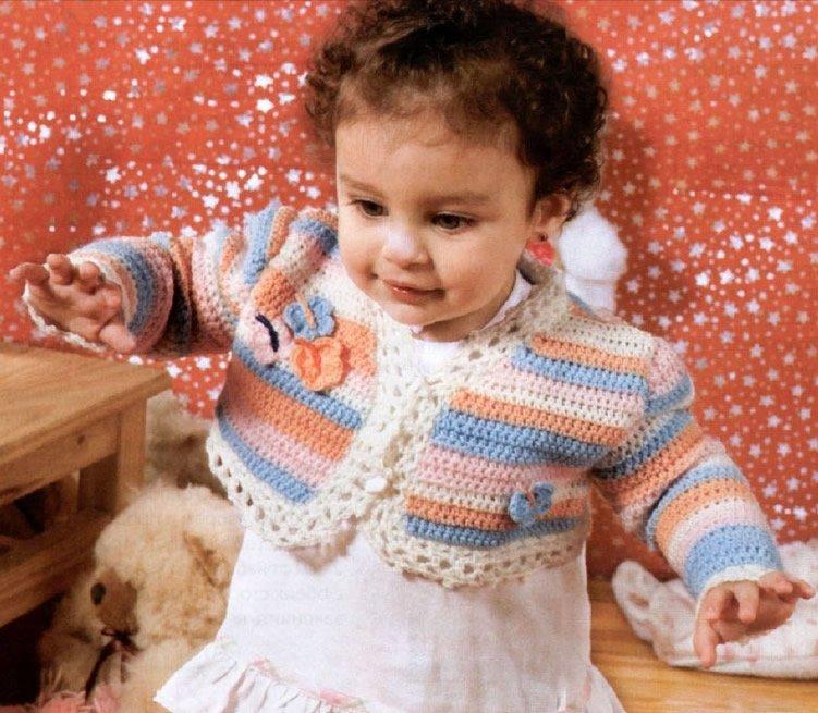 Болеро для девочки 2 года с разноцветными полосками